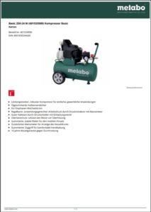 Cover-Datenblatt-METABO-Kompressor-Basic