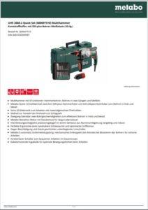 Datenblatt herunterladen - METABO Multihammer UHW 2660-2 Quick
